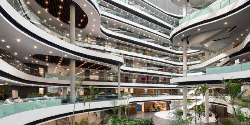 One Discovery Place has a public-accessible ground floor plus eight leve...